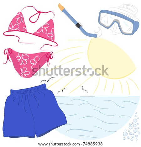 summer vacations accessories related to the beach activities and travel. Vector illustration