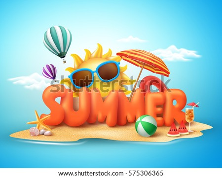 Summer vector banner design concept 3d 575306365 summer vector banner design concept of 3d text in beach island with summer elements and balloons voltagebd Gallery