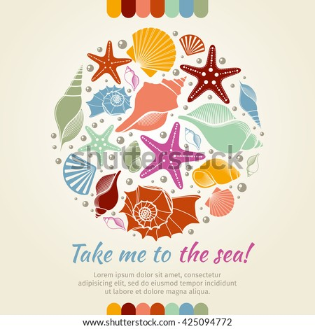 Summer vector concept with shells and sea stars. Summer round composition shell sea, starfish and sea shell, nature aquatic sea star and shells illustration - stock vector
