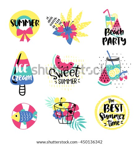 Summer vector elements collection. Colorful hand drawn different items and lettering.