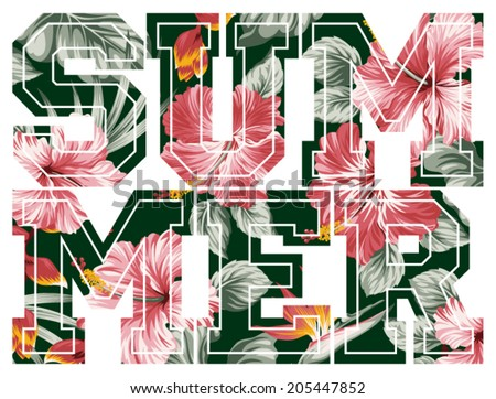 Summer, vector floral artwork for girls sportswear - stock vector