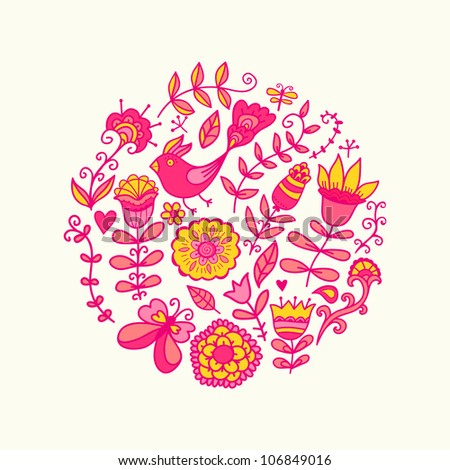 Summer vector illustration of circle made with flowers and birds. Round shape made of butterflies, leaves and different flowers. Summer background. Bright summer outlines made from flowers. - stock vector