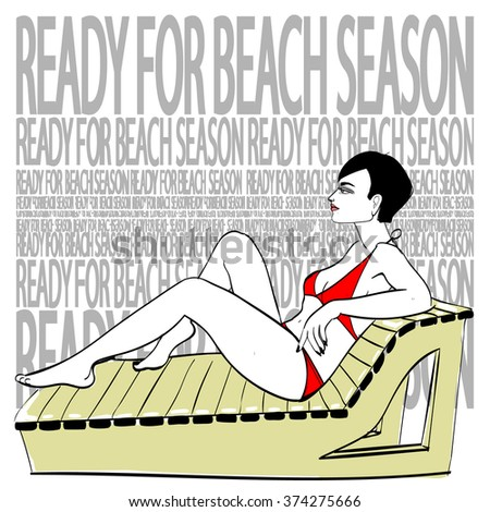 Summer vector illustration of young sexy woman wearing red bikini sitting on the beach recliner. Hand drawing, limited color graphic. Good as a fashion illustration or advertising of beachwear etc. - stock vector