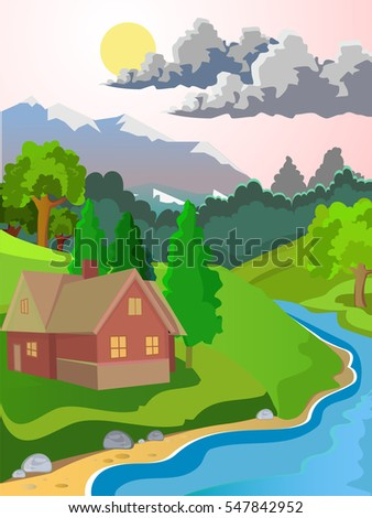 Summer vector landscape. Rural landscape. Green meadow stream. Clear skies and sunshine. The clouds in the sky.