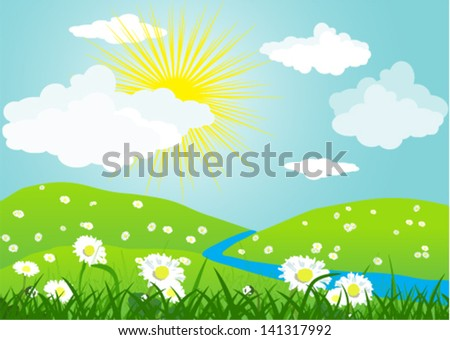 Summer vector landscape with grass and meadow of flowers