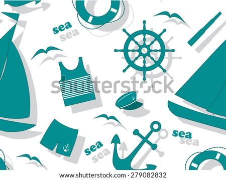 Summer vector seamless pattern with yacht attributes.