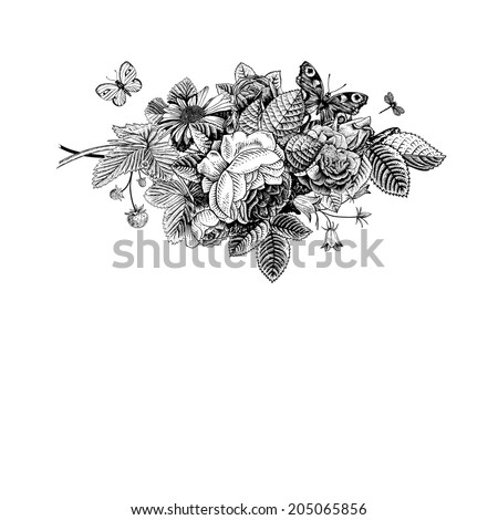 Summer vector vintage card with black and white floral bouquet of garden roses, strawberries, bells. Monochrome. Illustration, ink, pen. - stock vector
