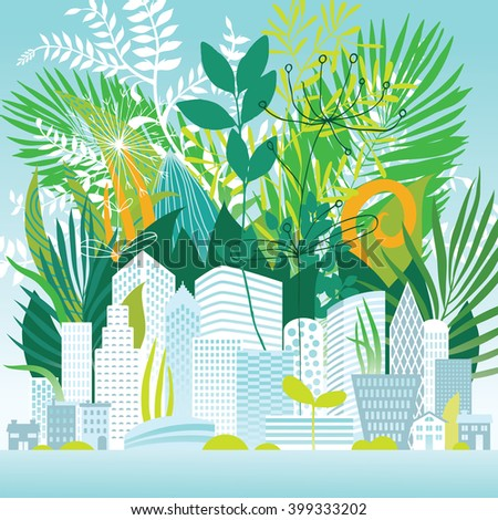 Summer vegetation in the city - stock vector