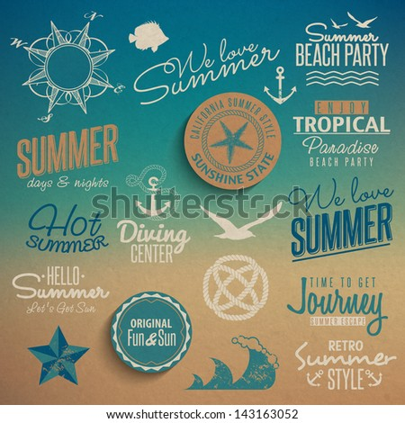 Summer vintage elements - stock vector