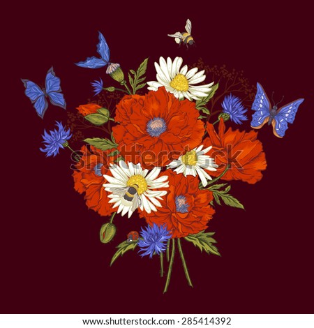 Summer Vintage Floral Bouquet Greeting Card with Blooming Red Poppies  Chamomile Ladybird and Daisies Cornflowers Bumblebee Bee and Blue Butterflies. Vector Illustration on Dark Brown Background - stock vector