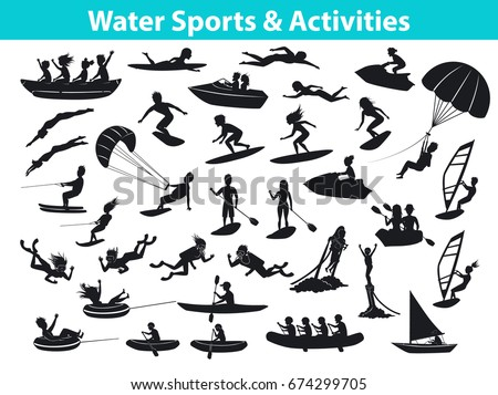 Summer Water Beach Sports Activities Silhouette Image