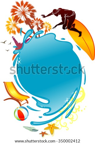 Summer Water Emblem-Tropical scenery and objects in a swirling composition