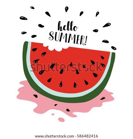 Summer Watermelon Slice, with bite taken off