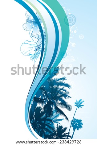 Summer wave element with palm trees and tropical flowers. - stock vector