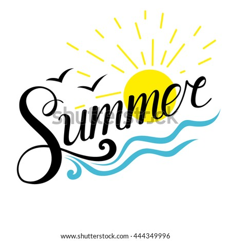 Summer with sun and waves. Summer lettering - stock vector