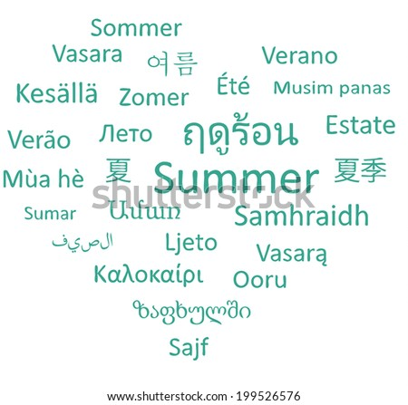 Summer word in different languages. Vector words cloud concept.