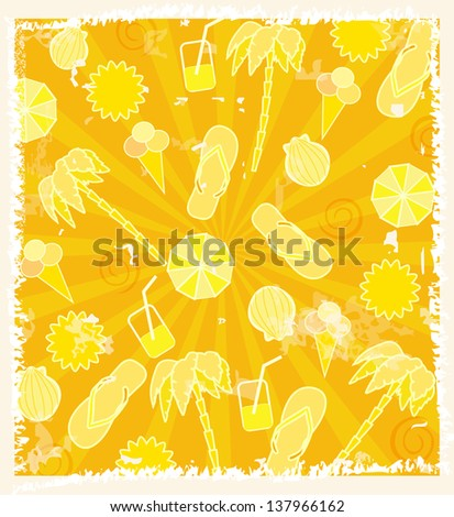 Summer yellow background for your design - stock vector