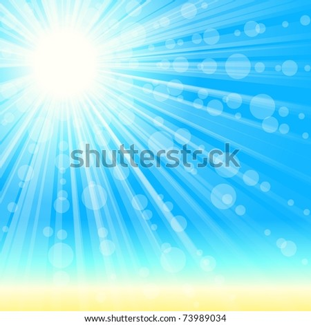 Summertime beach background with transparencies (EPS10); jpg version also available - stock vector