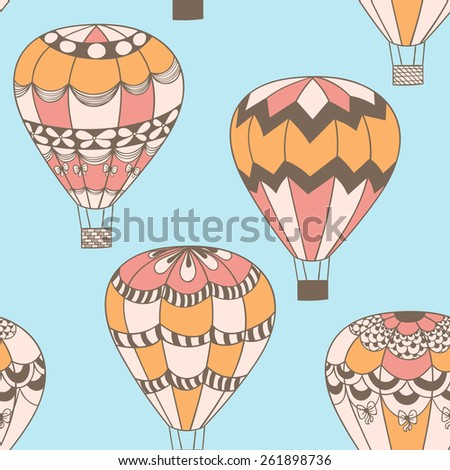 Summertime concept seamless pattern in doodle style. Cute hot air balloons background in vector. - stock vector