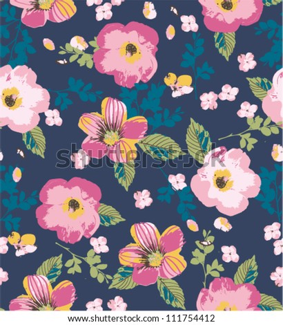 summertime floral seamless pattern - stock vector