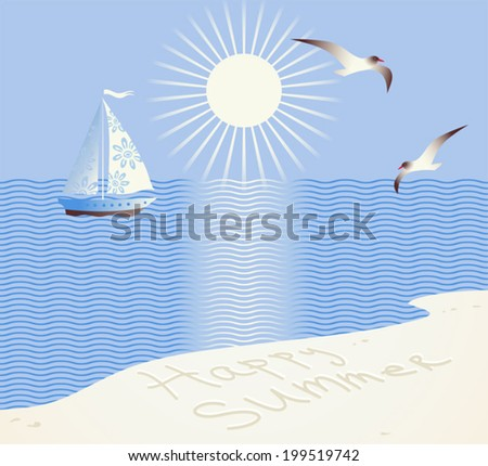 Summertime sand beach background. Seascape with sailing yacht, bright sun and seagulls. Happy summer. - stock vector