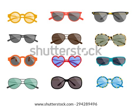 Summertime sunglasses collection. Summer glasses icons set isolated, vector illustration. Sunglasses  icons set. Sunglasses  icons art. Sunglasses  icons web. Sunglasses  icons new. Sunglasses  www. - stock vector