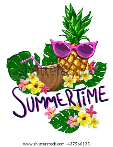 pineapple with sunglasses clipart. summertime vector illustration, pineapple with sunglasses tropical the idea for summer clipart y
