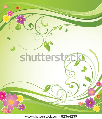 Summery floral banner - stock vector