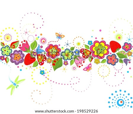 Summery floral border - stock vector