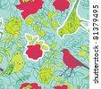 Summery floral garden with birds - stock vector