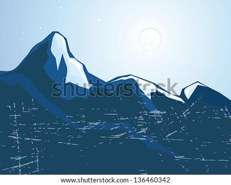 summits mountains   - stock vector