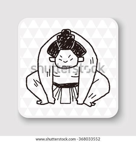 sumo doodle - stock vector