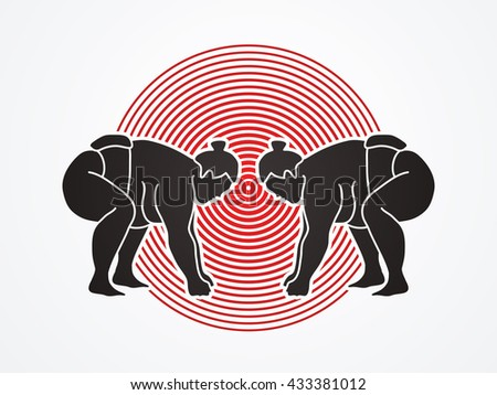 Sumo prepare to fight designed on red cycle background graphic vector. - stock vector