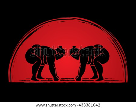 Sumo prepare to fight designed on sunrise background graphic vector. - stock vector