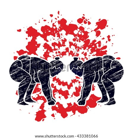 Sumo prepare to fight designed using grunge brush on splatter blood background graphic vector. - stock vector
