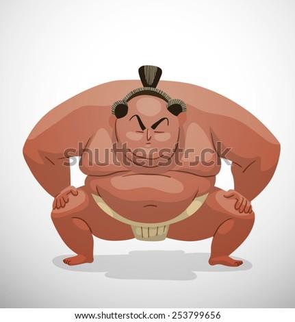 Sumo wrestler, vector - stock vector