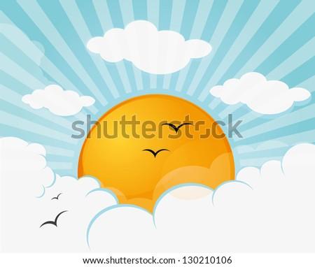 Sun and blue sky - stock vector
