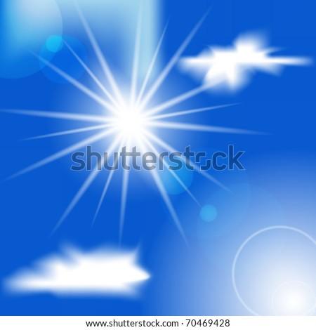 Sun and cirrus cloud on a blue sky. Vector . - stock vector