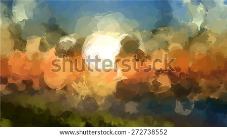 Sun and clouds brush strokes background. Vector version - stock vector
