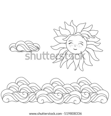 cloud template with lines - dominican republic flower coloring page coloring pages
