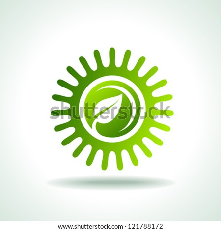 Sun and leaves Icon - stock vector