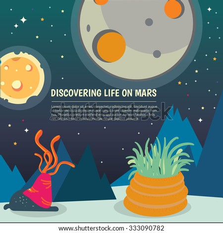 Sun and Moon , Galaxy Classification,Kids space learning,Full vector, Mars - stock vector