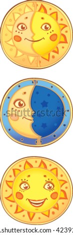 Sun and moon. Old traditional symbols in new style - stock vector