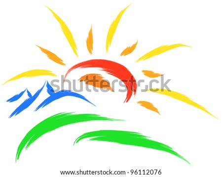 Mountain And Sun Vector Sun and mountain on grass,