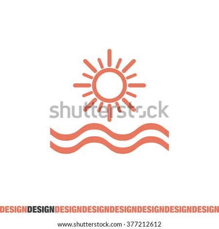 sun and sea vector icon - stock vector