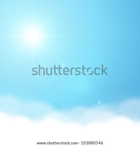 Sun and sky vector background - stock vector