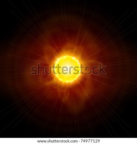 Sun and Space. Vector illustration. Eps10 - stock vector