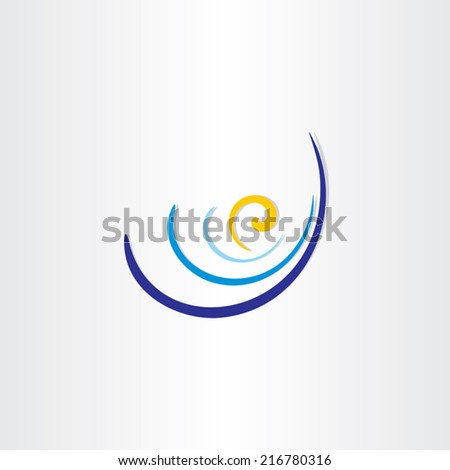 sun and water waves blue abstract travel background - stock vector