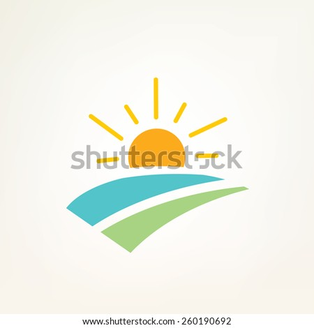 sun and water waves simple icon - stock vector