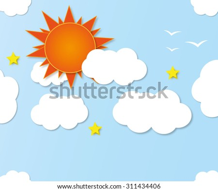 sun background. Blue sky with clouds. Vector